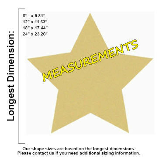 Star Unfinished Cutout Paintable Wooden MDF measurements