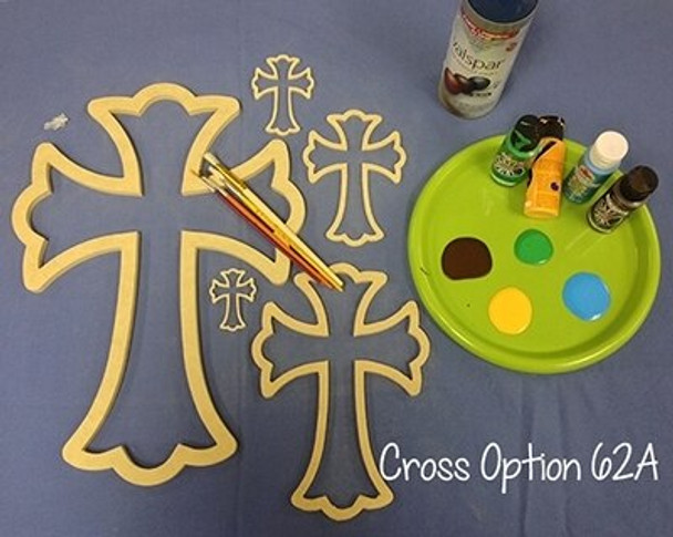 Cross 62 Unfinished Wooden Cross Paintable Wall Hanging Stackable