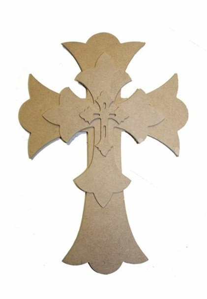 Unfinished Wooden Stacked Kit 12 Layered Crosses Paintable Craft