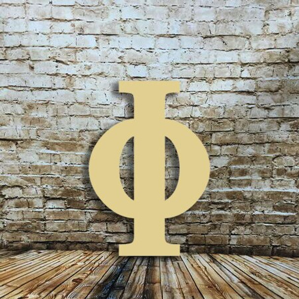 Large wall unfinished wooden letter Phi