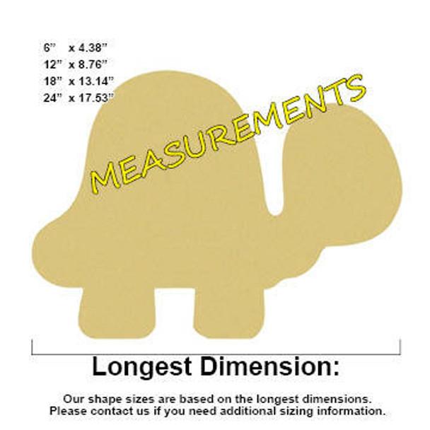 Turtle Unfinished Cutout measurements