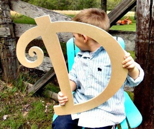 Unfinished DIY Letter Wooden Decor-D