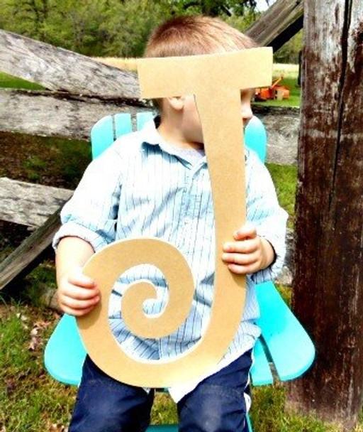 Unfinished DIY Letter Wooden Decor-J