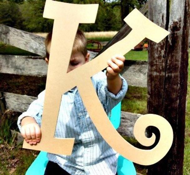Unfinished DIY Letter Wooden Decor-K
