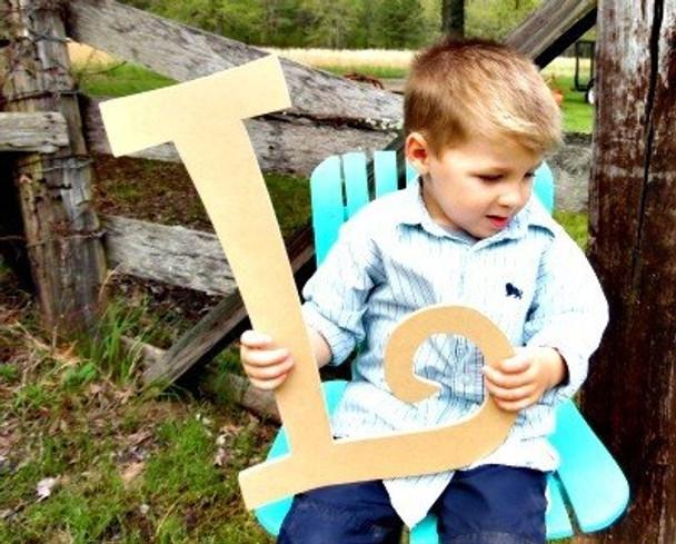 Unfinished DIY Letter Wooden Decor-L