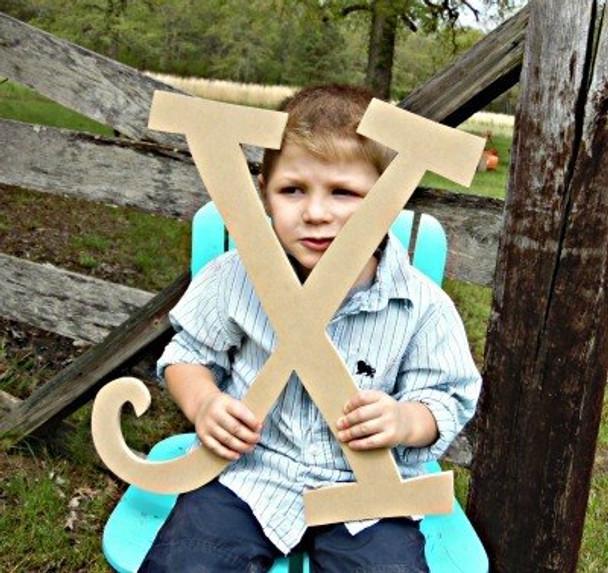 Unfinished DIY Letter Wooden Decor-X
