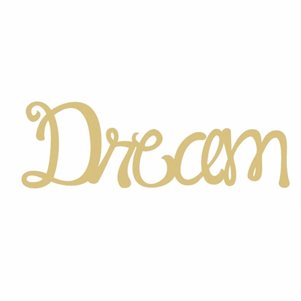 Unfinished Wooden Connected Curly Word, Dream, Paintable Wall DIY