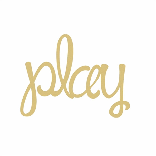 Unfinished Wooden Connected Curly Word, play, Paintable Wall DIY Craft