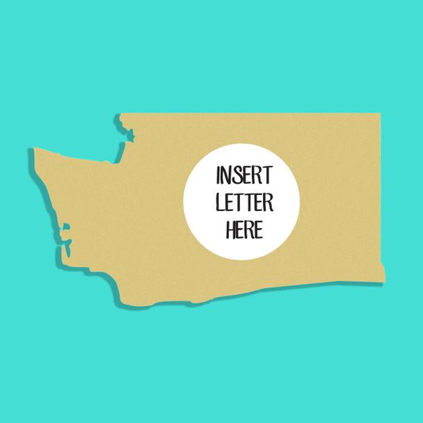 Washington Frame Letter Insert Wooden Monogram Unfinished DIY Craft