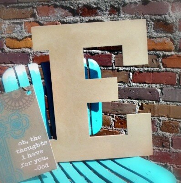 Unfinished Wooden Large Wall Letters-E