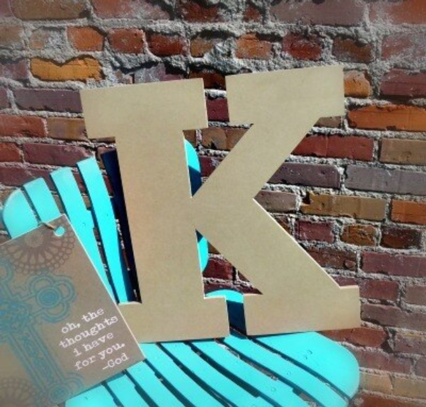 Unfinished Wooden Large Wall Letters-K