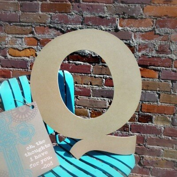 Unfinished Wooden Large Wall Letters-Q