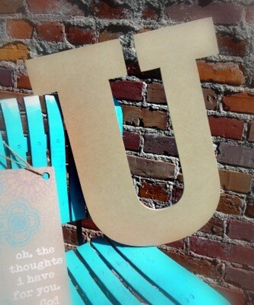 Unfinished Wooden Large Wall Letters-U