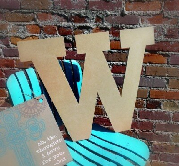 Unfinished Wooden Large Wall Letters-W