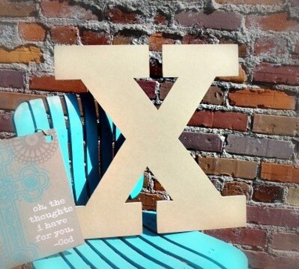 Unfinished Wooden Large Wall Letters-X