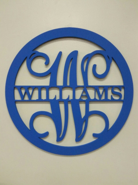 Circle Frame Family Name Unfinished Framed Monogram-WILLIANS