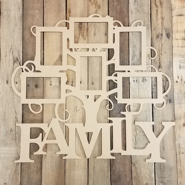 Family Six Pictures Frame, Wood Art, Unfinished Wood Frame, Wall Decor