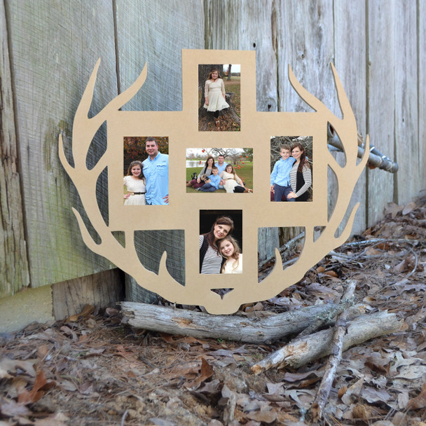 Unfinished Deer Antler Picture Frame Five Photos
