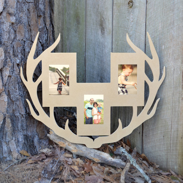 Unfinished Deer Antler Picture Frame Three Photos