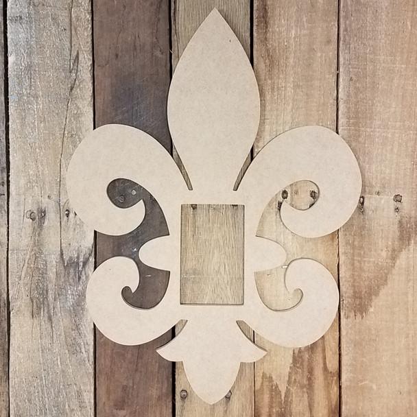 Fleur De Lis Picture Frame, Wood Art, Unfinished Wood Frame, Wall Decor