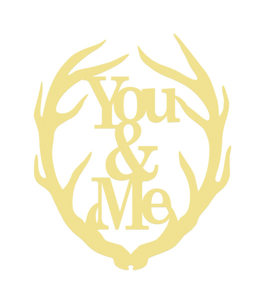 Antler You&Me Unfinished Cutout, Wooden Shape, MDF DIY Craft