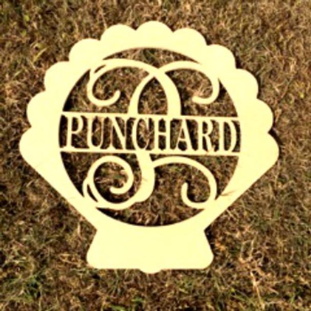 Seashell Frame Family Name, Unfinished Framed Monogram