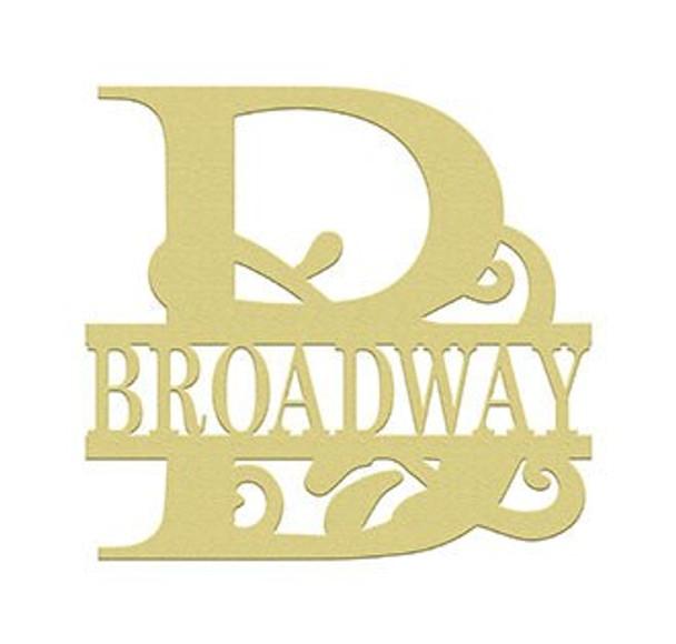 Scroll Monogram Split Letter Frame Family Name BROADWAY