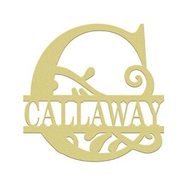 Scroll Monogram Split Letter Frame Family Name CALLAWAY