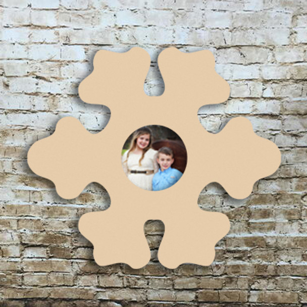 Unfinished Snowflake Picture Frame Wood Paint Wood Art