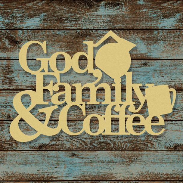 God Family and Coffee Word Unfinished Cutout, Wooden Shape, MDF