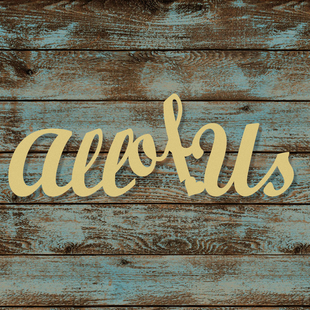 Unfinished Wooden Connected Script Word, All of Us, Alphabet Paintable