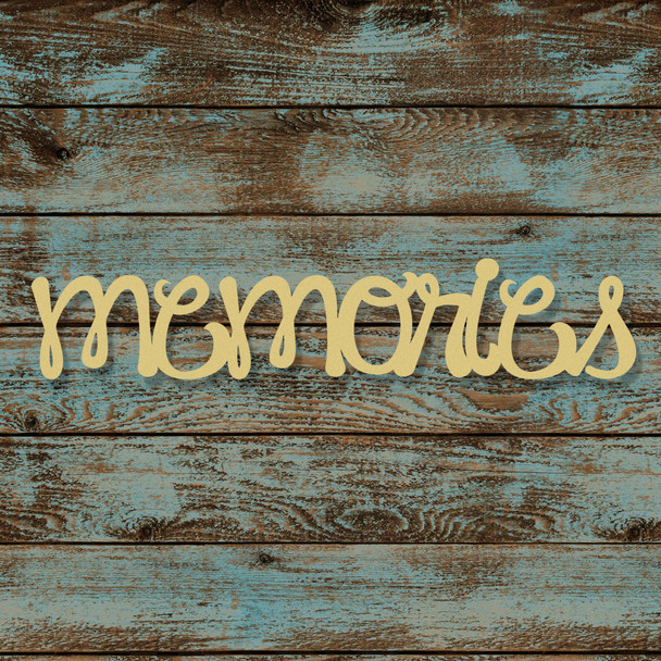 Unfinished Wooden Connected Curly Word, Memories, Alphabet Paintable