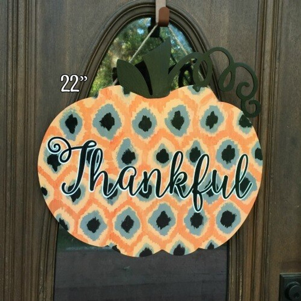 Pumpkin with vine 22 inch Unfinished Cutout wall decor