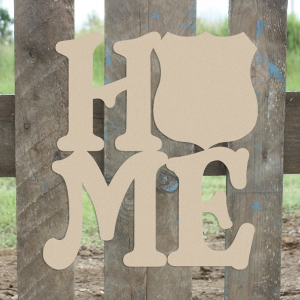 Home Police Badge Sign Wall Art Wooden DIY Craft MDF
