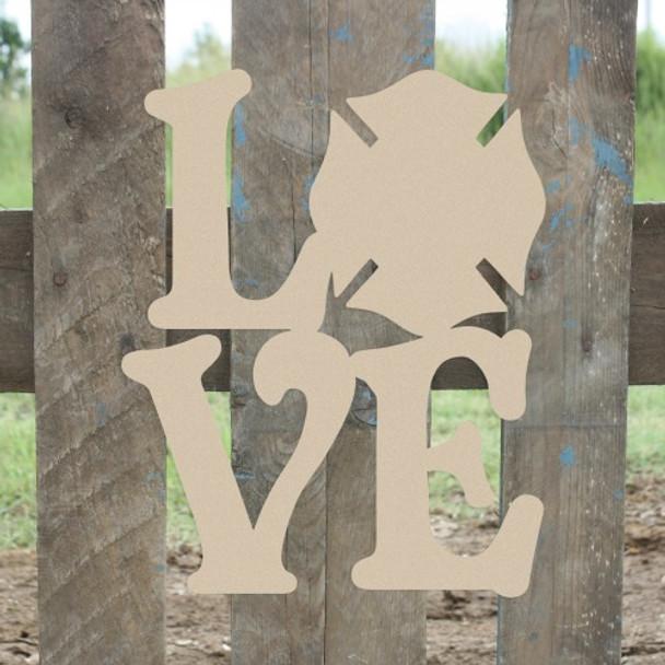 Love Fireman Badge Sign Wall Art Wooden DIY Craft MDF