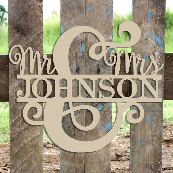 Unfinished Mr & Mrs Name Frame Sign