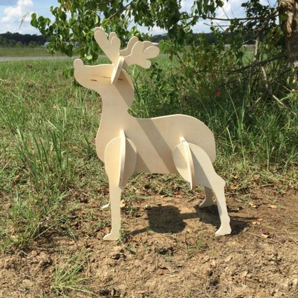 Reindeer Yard Art (Baby Rudolf) 1/2'' White Pine Christmas Decor