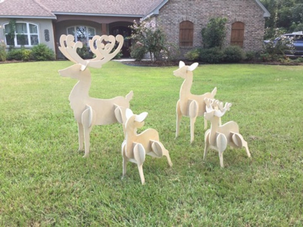Reindeer Yard Art (4 deer, Dad, Mom, little buck, little doe) 1/2'' White Pine Christmas Decor