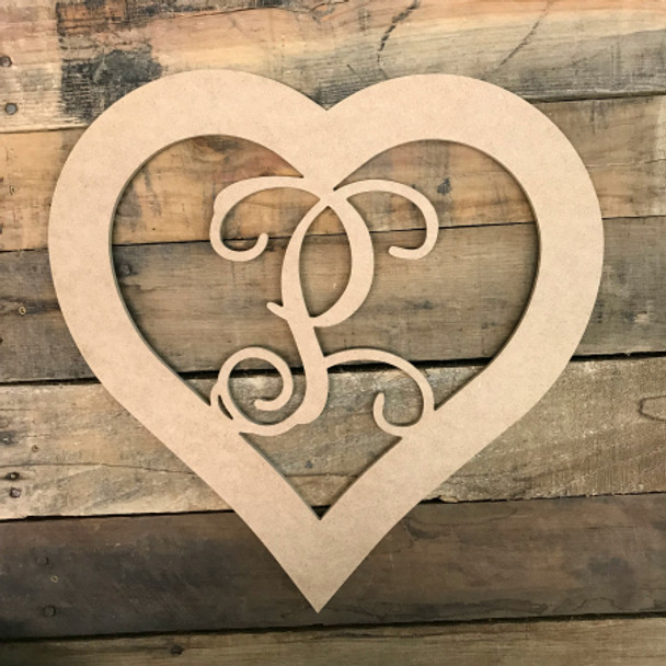 Heart Framed Monogram Letter Unfinished DIY Craft