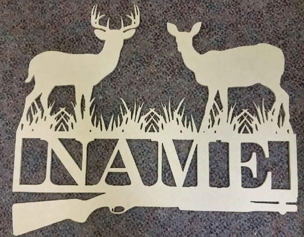 Deer Hunt Frame Family Name, Unfinished Framed Monogram