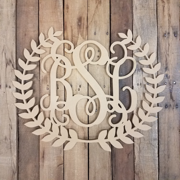 Roman Wreath Unfinished Wood 3-Alphabet Letter Eucalyptus  Wall Decor Paintable