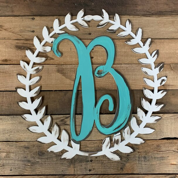Roman Wreath Monogram Framed Letter