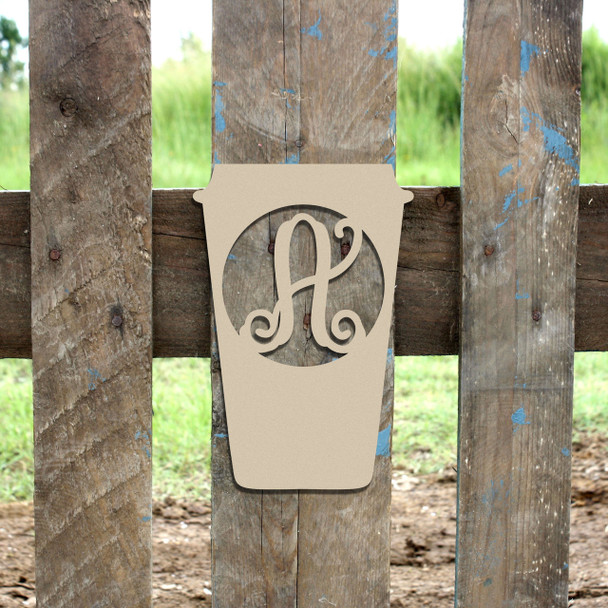 Coffee Cup Frame Monogram Letter Wooden Unfinished  DIY Craft