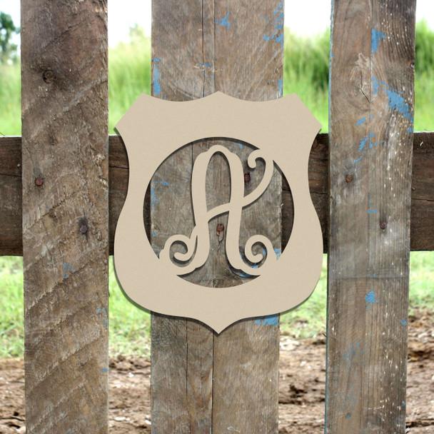 Police Badge Frame Monogram Letter Wooden Unfinished  DIY Craft