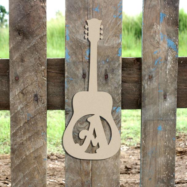 Guitar Monogram Beltorian Letter Wooden - Unfinished  DIY Craft