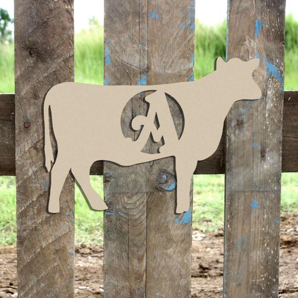 Cow Monogram Beltorian Letter Wooden - Unfinished  DIY Craft