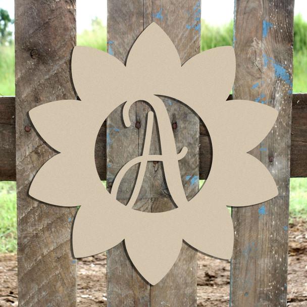 Sunflower Frame (Freestyle) Monogram Letter Wooden Unfinished DIY Craft
