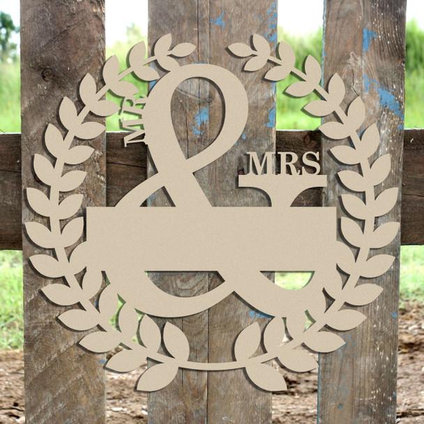 Roman Wreath - Mr & Mrs 2, Unfinished Cutout MDF
