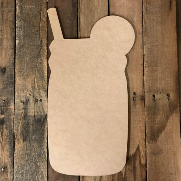 Mason Jar With Lemon Straw Unfinished Cutout