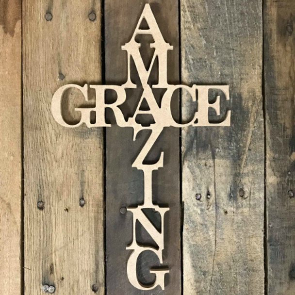 Amazing Grace Cross Wooden (MDF) Cutout - Unfinished  DIY Craft
